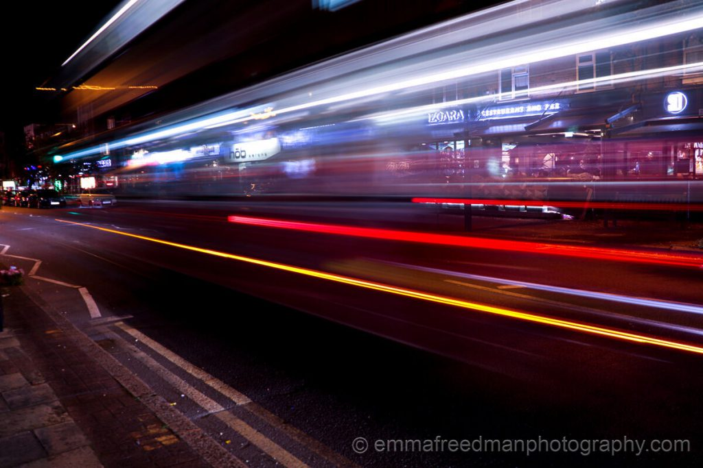 Motion blur of bus
